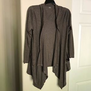 A.N.A. Brown Draped Open Front Cardigan With Hood